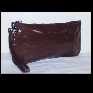 Chocolate Brown patent leather Clutch